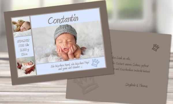 """Danksagungskarten Geburt """"Verträumter Bengel"""""""