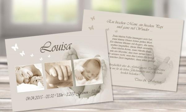 """Danksagungskarten Geburt """"Babyfüsschen"""""""