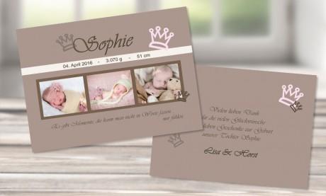 """Danksagungskarten Geburt """"Kleine Prinzessin"""""""