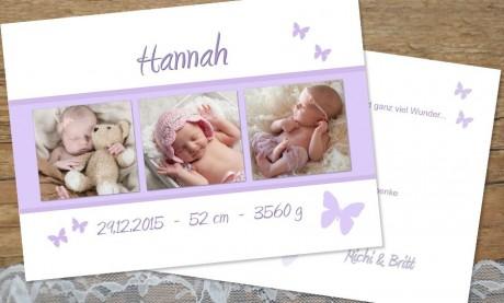 "Danksagungskarten Geburt ""Schmetterling"""