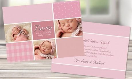 """Danksagungskarten Geburt """"Traum in rosa"""""""