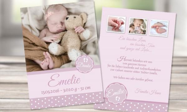 "Danksagungskarten Geburt ""Vintagebaby"""