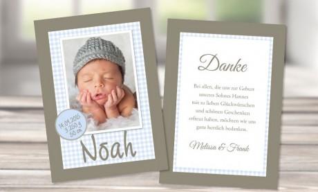 "Danksagungskarten Geburt ""Verträumter Lausbub"""