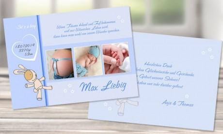 """Danksagungskarten Geburt """"Kleiner Hase"""""""