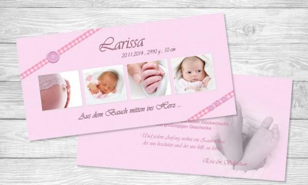 "Dankkarten Geburt ""Knöpfchen"""