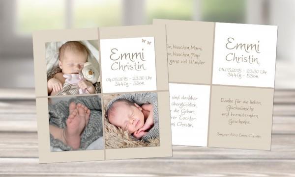 """Dankeskarten Geburt """"Unzertrennlich"""""""