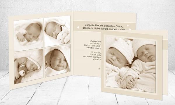 """Baby Dankeskarten """"Zwillinge"""""""