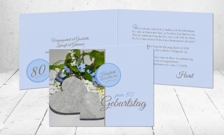 """Einladungskarte runder Geburtstag """"Vergissmeinnicht"""""""