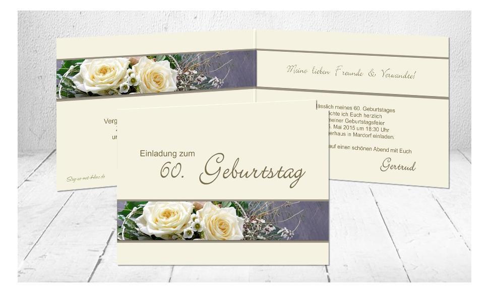 """Einladungskarte runder Geburtstag """"Sechzig"""""""
