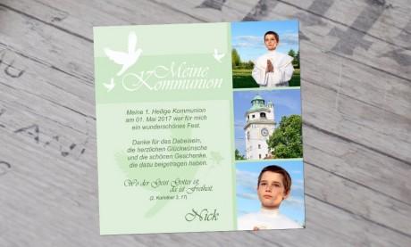 """Danksagungskarten zur Kommunion """"Taube"""""""