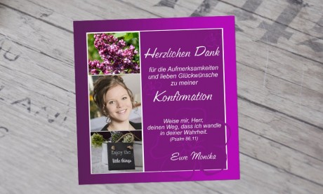 "Danksagung Konfirmation ""Meine Konfirmation"""