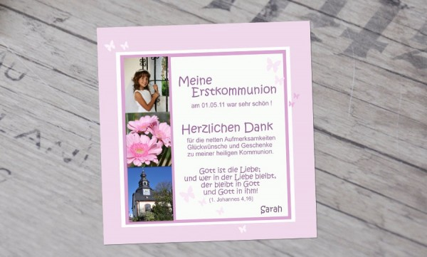 """Danksagungskarten zur Kommunion """"Liebe"""""""