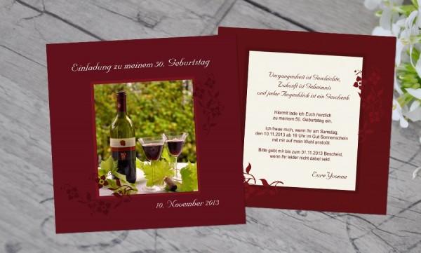 """Einladungskarten Geburtstag """"Blumenrahmen"""""""