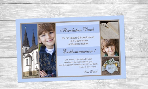 """Danksagungskarten zur Kommunion """"Spuren"""""""