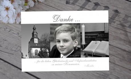 """Danksagungskarten zur Kommunion """"schwarz weiß"""""""