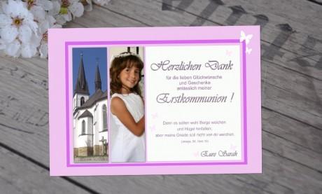 """Danksagungskarten zur Kommunion """"Traum in pink"""""""