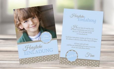 """Einladungskarte Kommunion """"Pünktchen"""""""