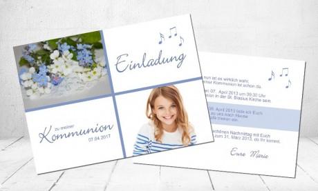 """Einladungskarte Kommunion """"Vergissmeinnicht"""""""