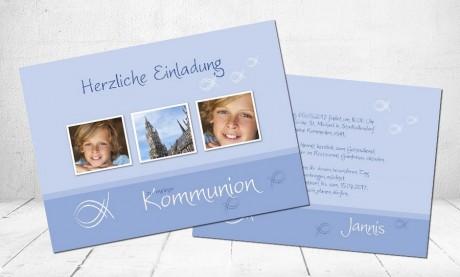 """Einladungskarte Kommunion """"Fisch"""""""