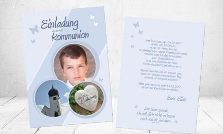 """Einladungskarte Kommunion """"Schmetterling"""""""