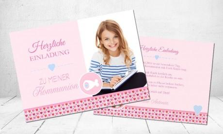 """Einladungskarte Kommunion """"Herzchen"""""""