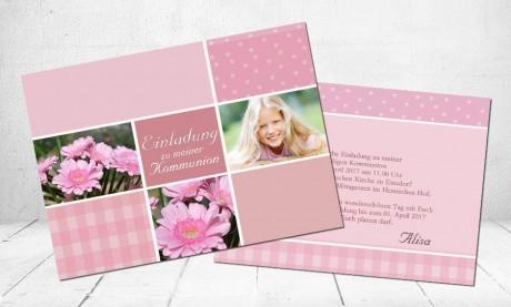"Einladungskarte Konfirmation ""Traum in rosa"""