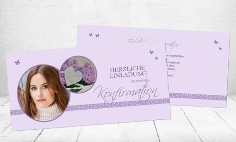 """Einladungskarte Konfirmation """"Flieder"""""""