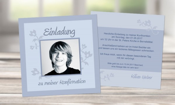 """Einladungskarte Konfirmation """"Für coole Jungs"""""""