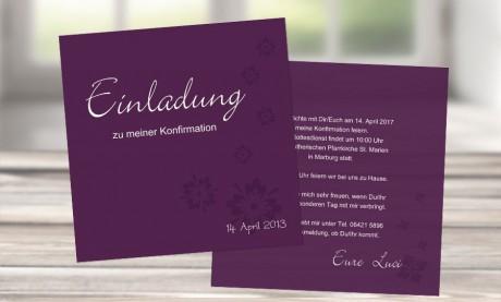 """Einladungskarte Konfirmation """"Verträumt"""""""