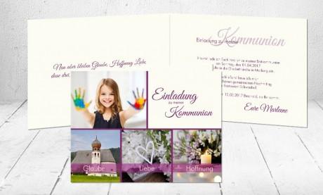 """Einladungskarten Erstkommunion """"Farbenfroh"""""""