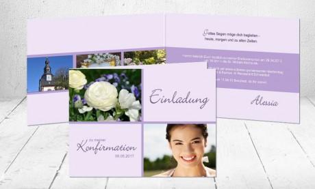"""Einladungskarte Konfirmation """"Blumenpracht"""""""
