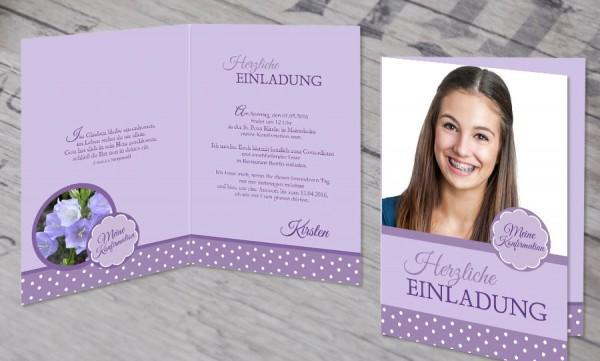 """Einladungskarte Konfirmation """"Pünktchen"""""""