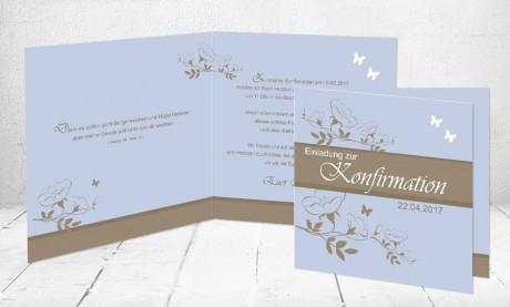 "Einladungskarte Konfirmation ""Traum in blau"""