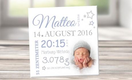 """Wandbild mit Geburtsdaten und Foto """"Matteo"""""""