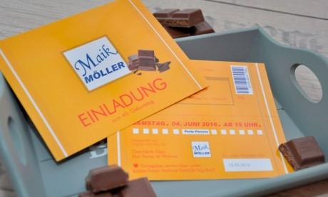 Einladungskarten 40. Geburtstag witzig - Schokoriegel