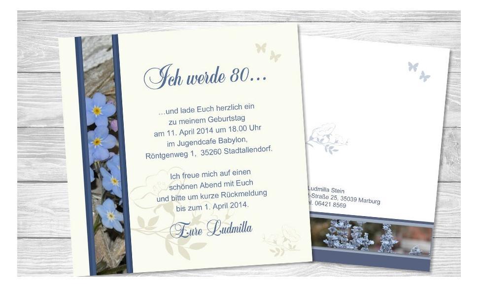 """Einladungskarten Geburtstag """"80. Jubiläum"""""""