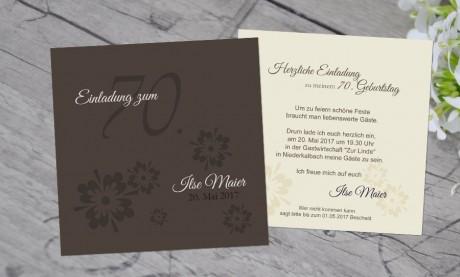 """Einladungskarten Geburtstag """"70 Jahre"""""""