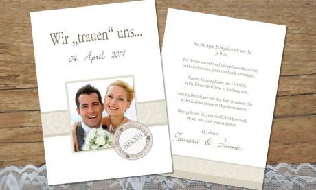 """Hochzeitseinladungskarte """"Wir trauen uns"""""""