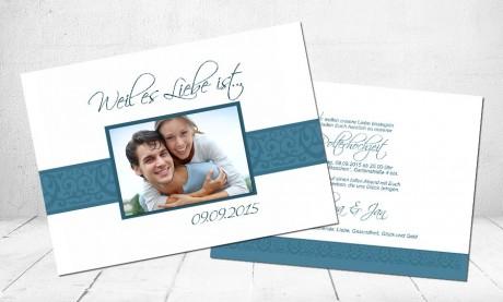 """Hochzeitseinladungskarte """"Weil es Liebe ist"""""""