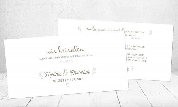 """Hochzeitseinladungskarte """"Wir heiraten"""""""