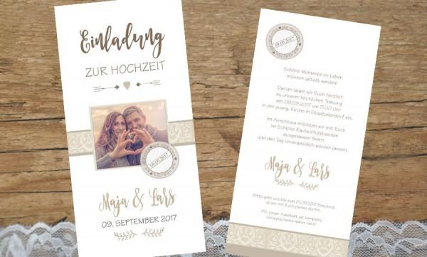 """Hochzeitseinladungen mit Foto """"Mitten ins Herz"""""""