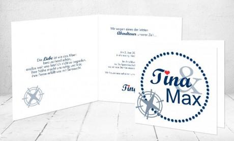 """Einladungskarten Hochzeit """"Kompass der Liebe"""""""