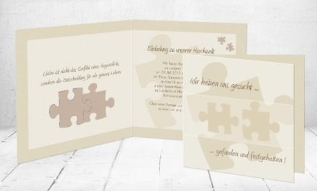 """Einladungskarten Hochzeit """"Puzzle"""""""