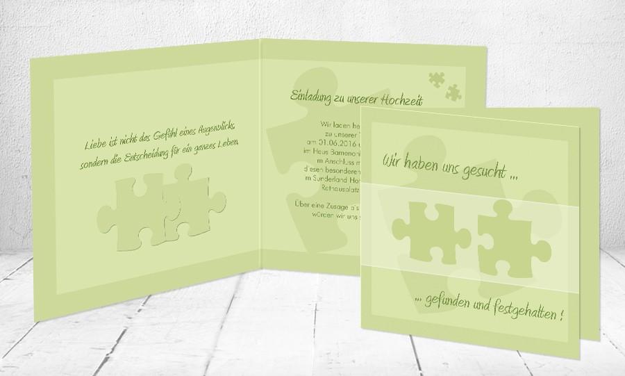 Einladungskarten Hochzeit Puzzle Vorlagen Design