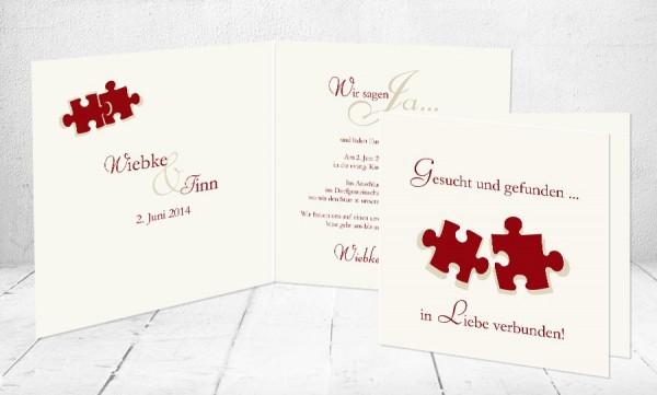 """Einladungskarten Hochzeit """"gesucht und gefunden"""""""