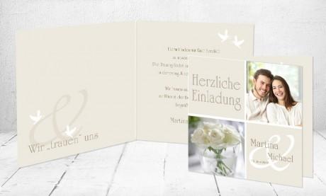 """Einladungskarten Hochzeit """"Weiße Tauben"""""""