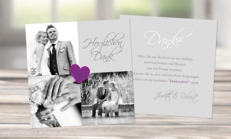 """Danksagungskarten Hochzeit """"Herzlichen Dank"""""""