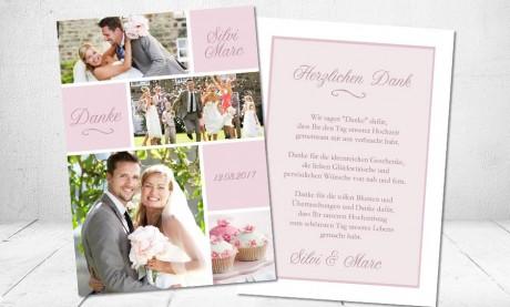 "Danksagungskarten Hochzeit ""Rosa Zauber"""