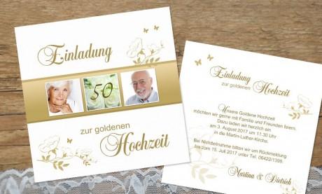 """Einladung Goldhochzeit """"Gold"""""""