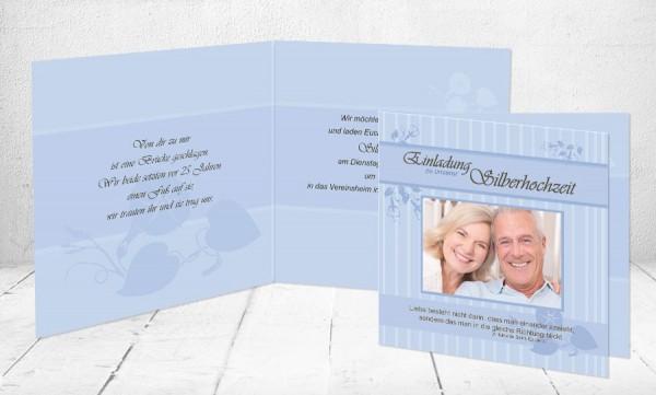"""Silberhochzeitskarten Einladung """"25 Jahre in die gleiche Richtung"""""""